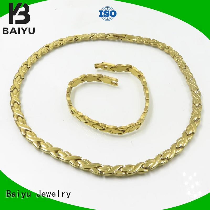 stainless steel chain and bracelet set link for ladies Baiyu Jewelry