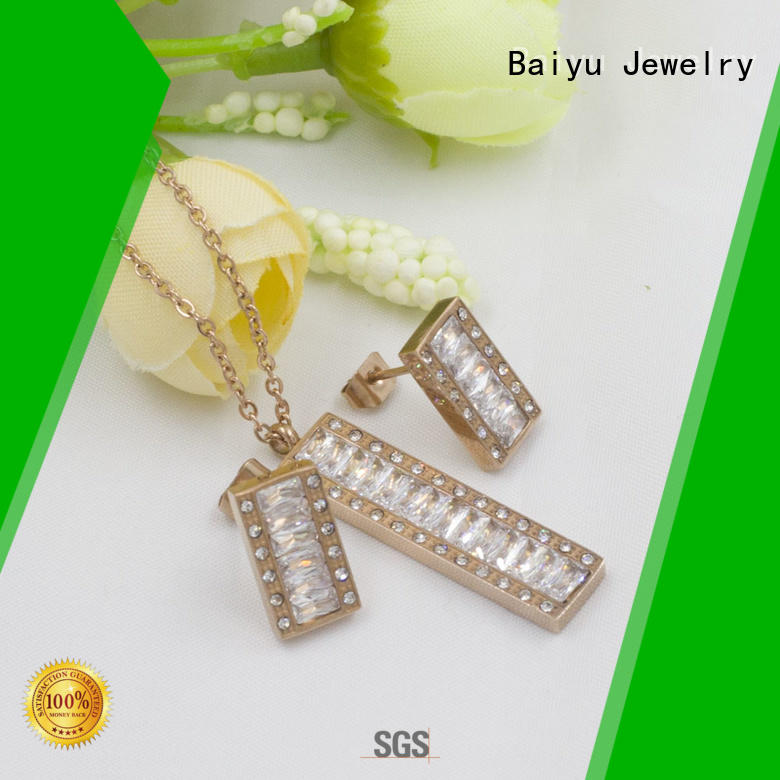 customized costume jewellery sets simple clover for ladies